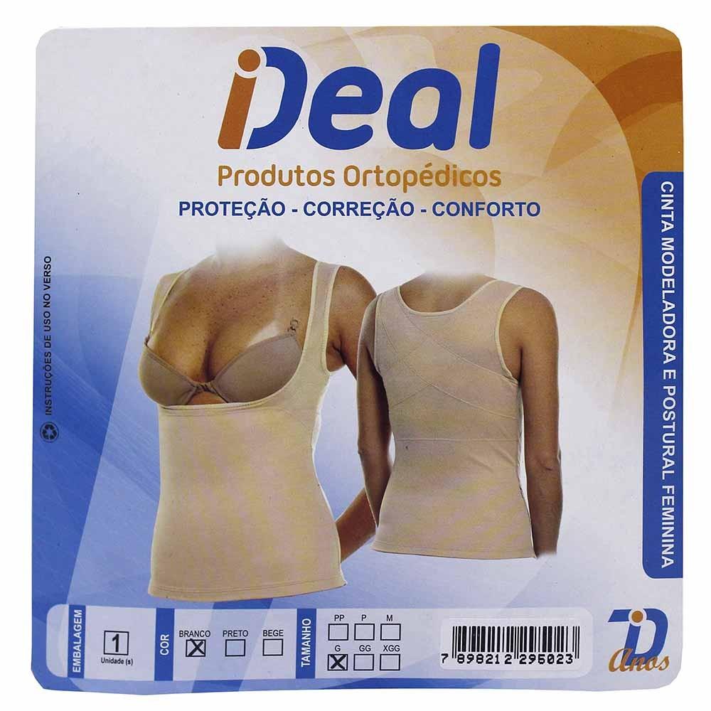 840c7ba6570a Cinta Modeladora e Corretiva Ideal Feminina Cor Branco Tamanho Grande