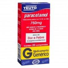 Paracetamol 750mg Com 20 Comprimidos Genérico Teuto
